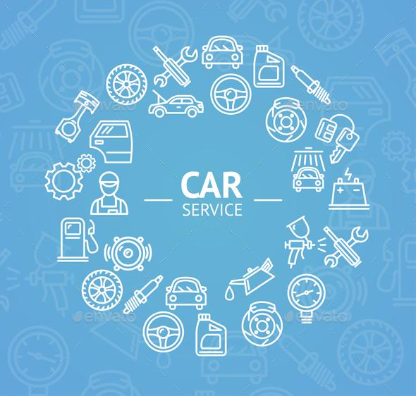 Car Service Concept. Vector