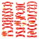 Set of Red Golden Celebration Curved Ribbons - GraphicRiver Item for Sale