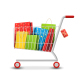 Sale Colorful Shopping Cart with Bags on White - GraphicRiver Item for Sale