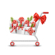 Shopping Cart with Gift Boxes and Pine Branches - GraphicRiver Item for Sale