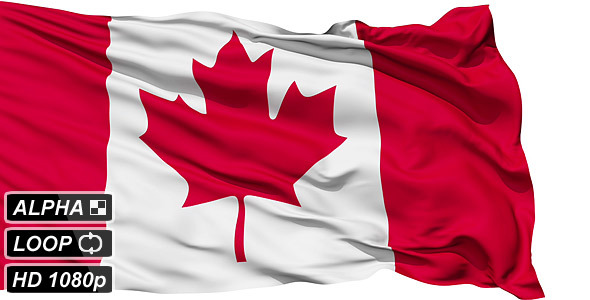 Isolated Waving National Flag Of Canada