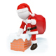 3D White People. Santa Claus Coming Down a Chimney - GraphicRiver Item for Sale