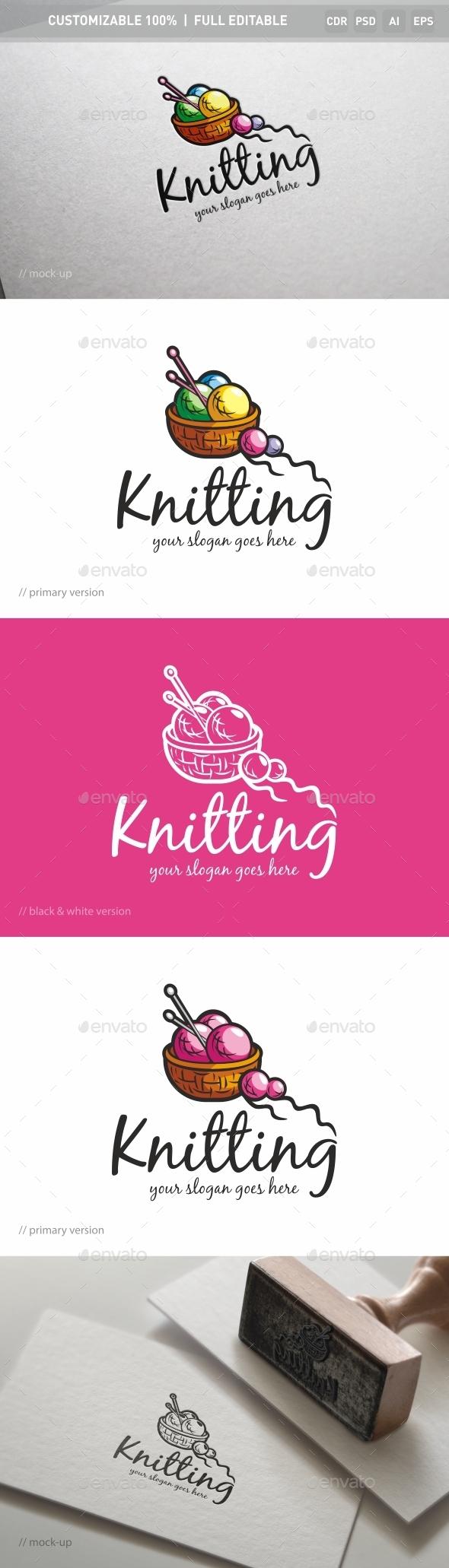 Knitting Logo Template