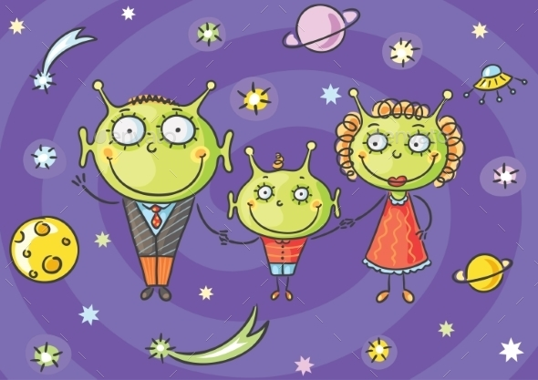 Cartoon Alien Family