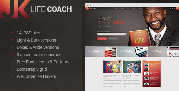 Life Coach - Personal page PSD template
