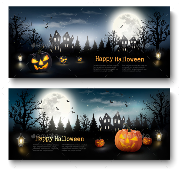 Scary Halloween Banners  With Pumpkins and Moon