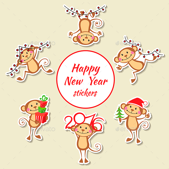 Happy Monkey Stickers New Year Set