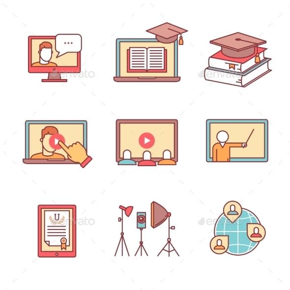 Online Seminar Icons Thin Line Set. Webinar