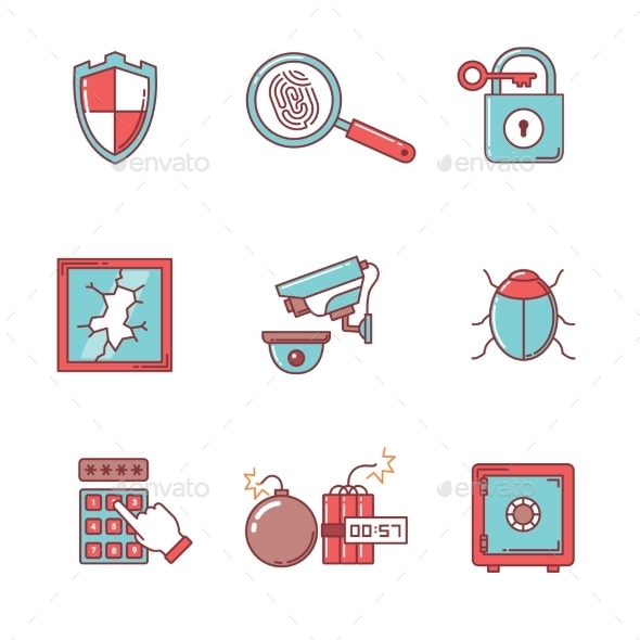 Security And Cybersecurity Icons Thin Line Set