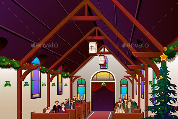 People Celebrating Christmas Eve Inside the Church
