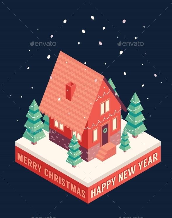 Isometric Icons Merry Christmas Happy New Year