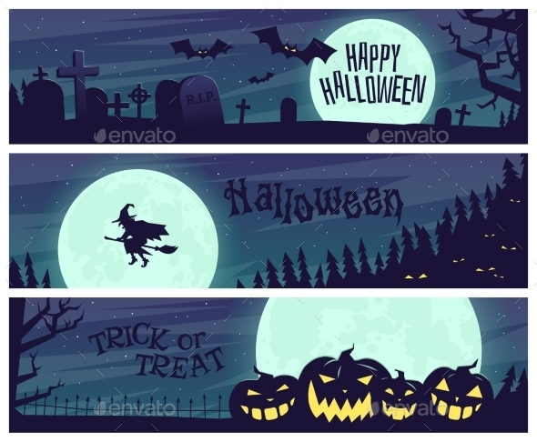 Set of Posters for Halloween Party