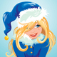 Blond Girl Wearing Blue Santa Claus Costume - GraphicRiver Item for Sale