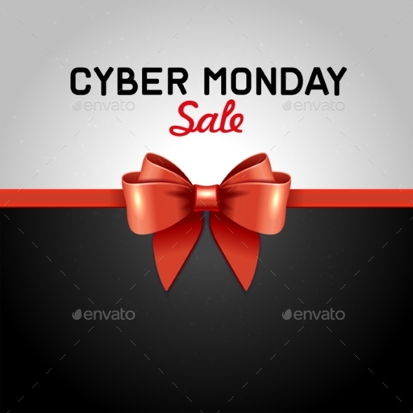 Cyber Monday Sale Design Poster With Ribbon And