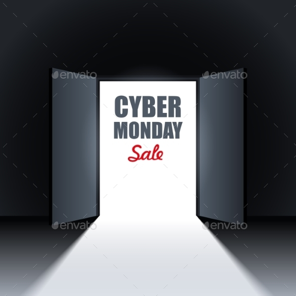 Cyber Monday Sale Background With Open Doors