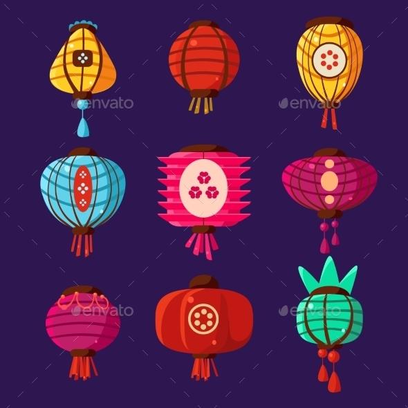 Colourful Lanterns Set. Vector Illustration