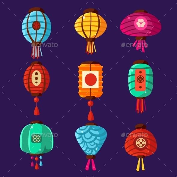 Colourful Lanterns. Vector Illustration Set