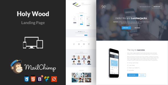Onepage Landing Page WordPress Theme - Holy Wood