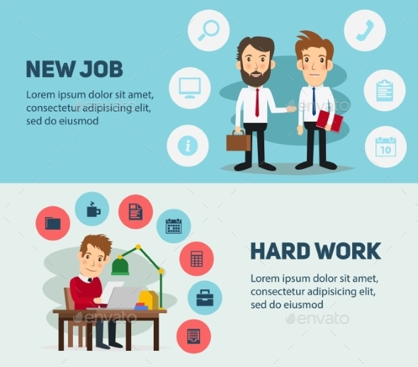 New Job Search And Stress Work Infographic. Office
