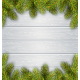 Pine Branches Frame on White Wooden Background - GraphicRiver Item for Sale