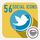 56 Flat Style Animated Social Icons - VideoHive Item for Sale