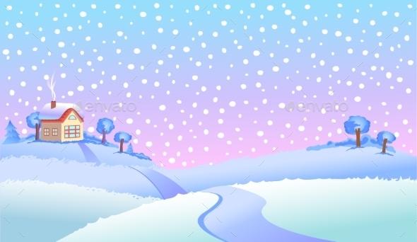 Winter Landscape In Day.