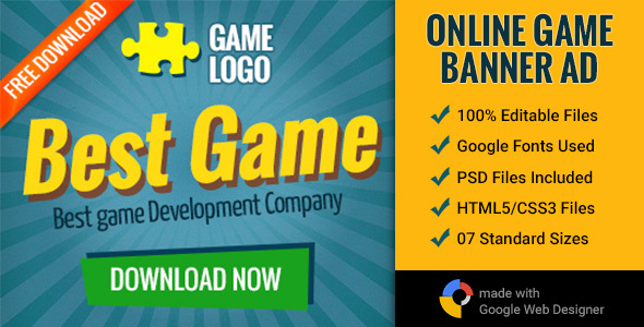 GWD | Online Gaming Banner - 7 Sizes Download
