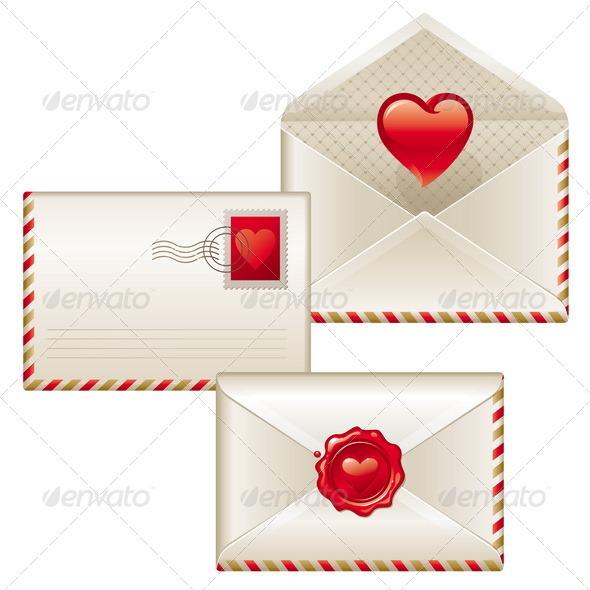 Three love letters - Valentines illustration