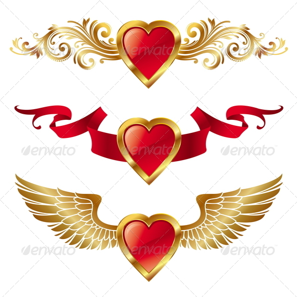 Vector Valentines Hearts With Decor