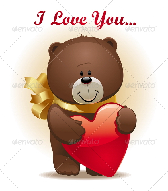 Valentines Design - Cute Bear With Bow & Heart