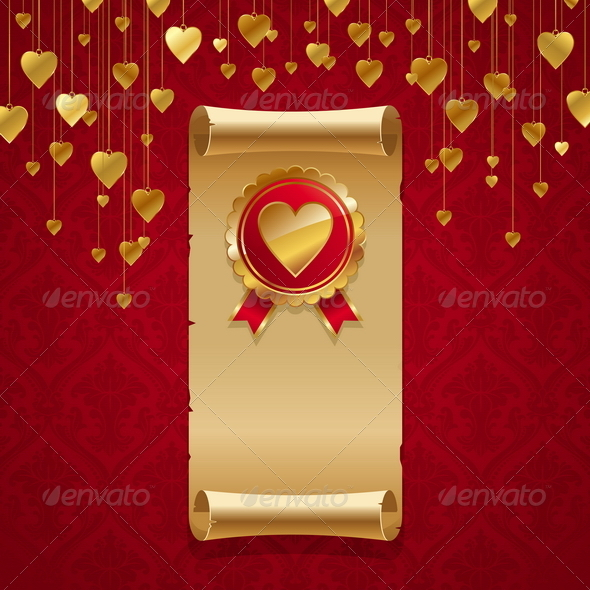 Valentines Design - Scroll & Badge With Hearts