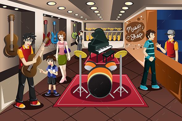 Parent Kid Buying Musical Instrument