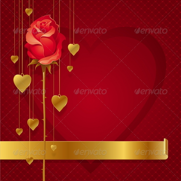 Valentines Design With Red Rose & Golden Hearts