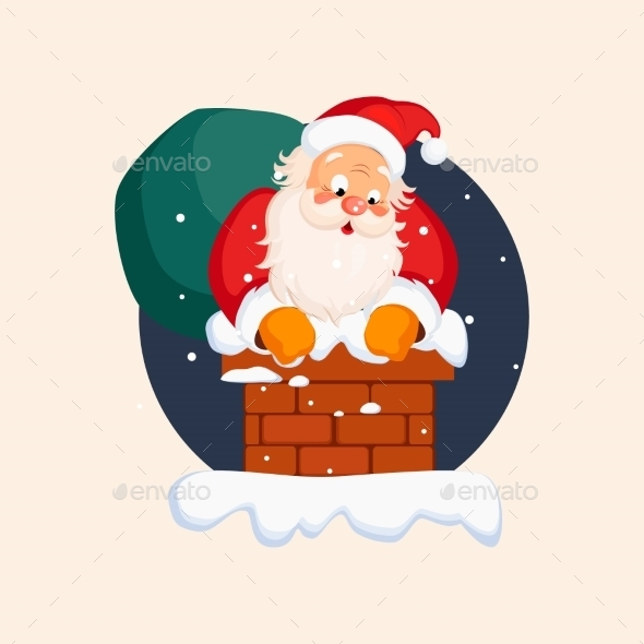 Santa Claus In Chimney On Christmas Eve. Vector