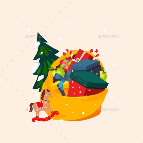 Toy Bag Full Of Gifts And Christmas Tree. Vector