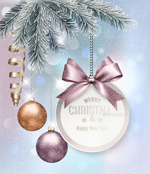 Christmas Background With Colorful Balls