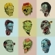 Set Of Nine Drawn Image With The Zombie. - GraphicRiver Item for Sale