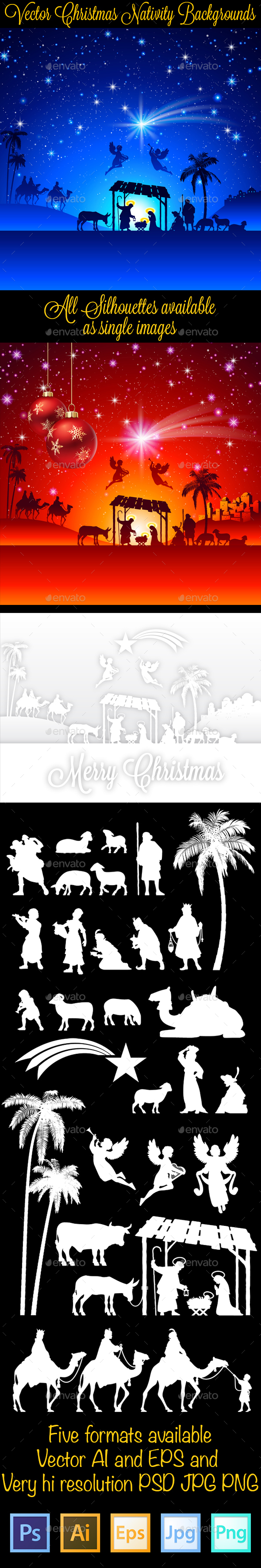 Christmas Nativity Silhouettes Backgrounds