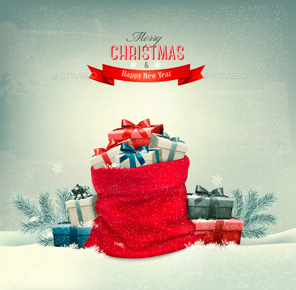 Holiday Christmas Background with a Sack