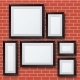 Vector Blank Picture Frame Set On Brick Wall. - GraphicRiver Item for Sale