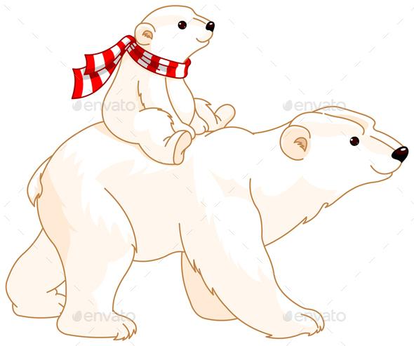 Polar Bear Mom and Baby