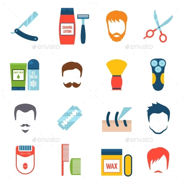Shaving Icons Set
