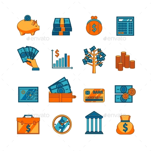Finance Business Flat Icons Set