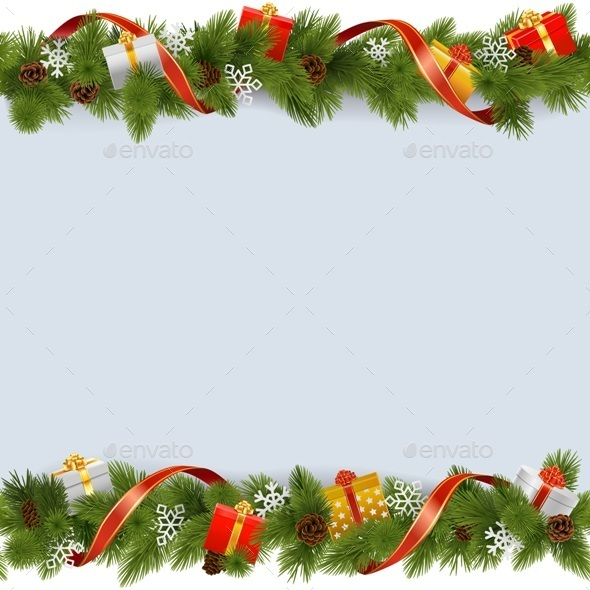 Vector Christmas Border with Gifts
