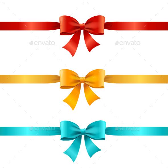 Bow and Ribbon Set. Vector