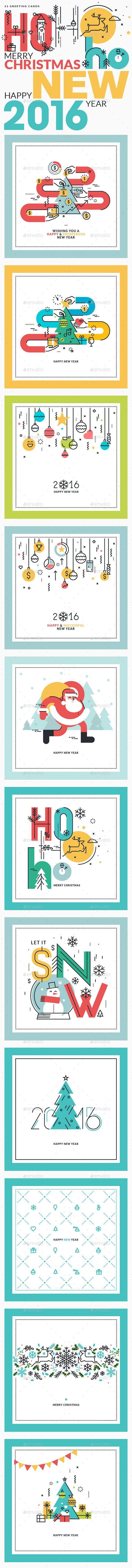 Set of Flat Line Design Christmas and New Year's