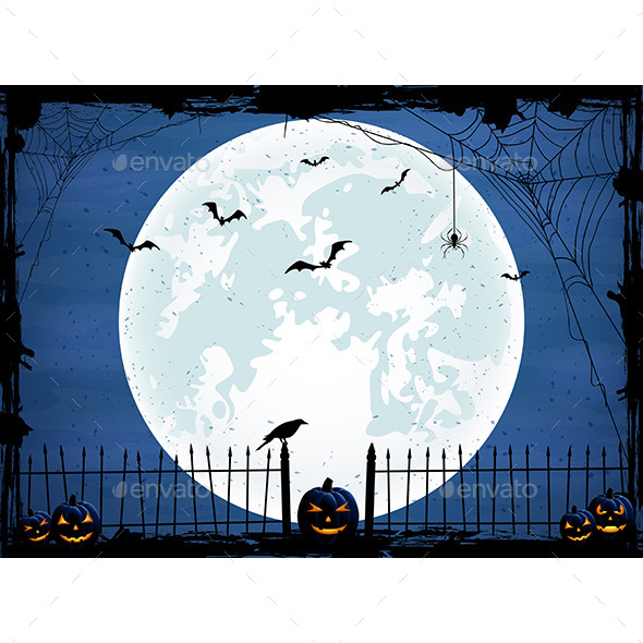 Halloween Background with Blue Moon