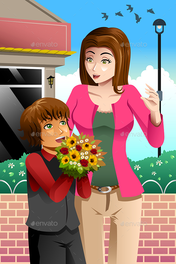 Girl Giving Bouquet of Flowers to Mother