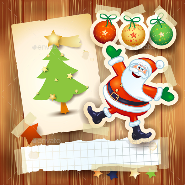 Christmas Background with Happy Santa and Postcard