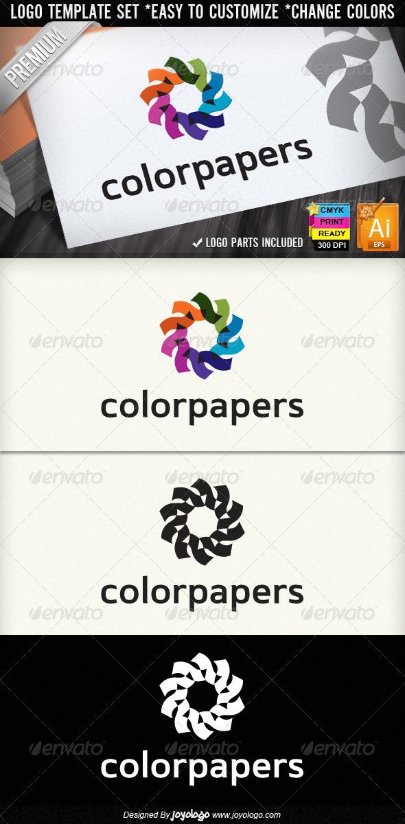 Color Papers Printing Service Retro Logo Designs